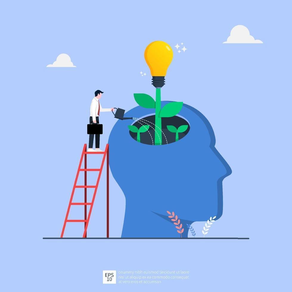 WebTiny businessman watering idea light bulb from big human head illustration. Business idea concept vector