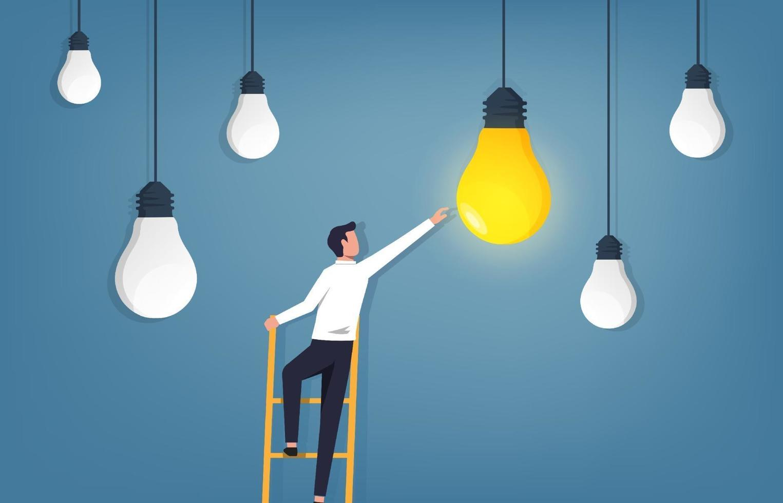 Idea concept. Businessman climbing ladder and reaching light bulb vector illustration.