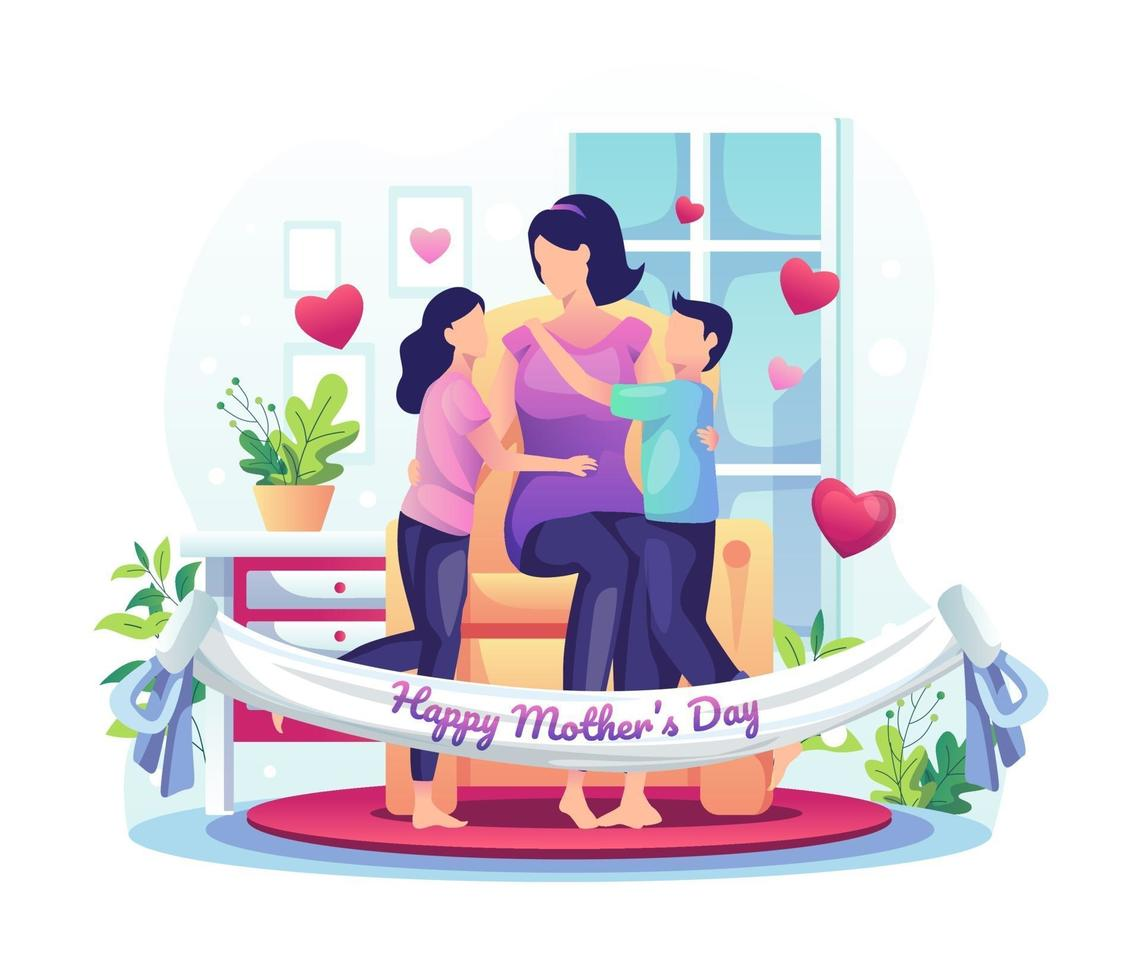 Children celebrate mother's day with their mother at home. Happy Mother's Day Greeting vector illustration