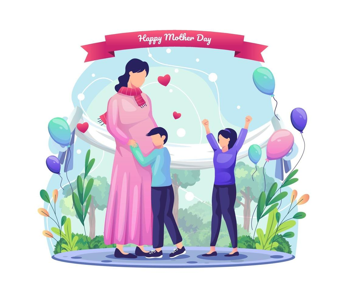 Children are happy to celebrate their mother who is pregnant. Happy Mother's Day Greeting vector illustration