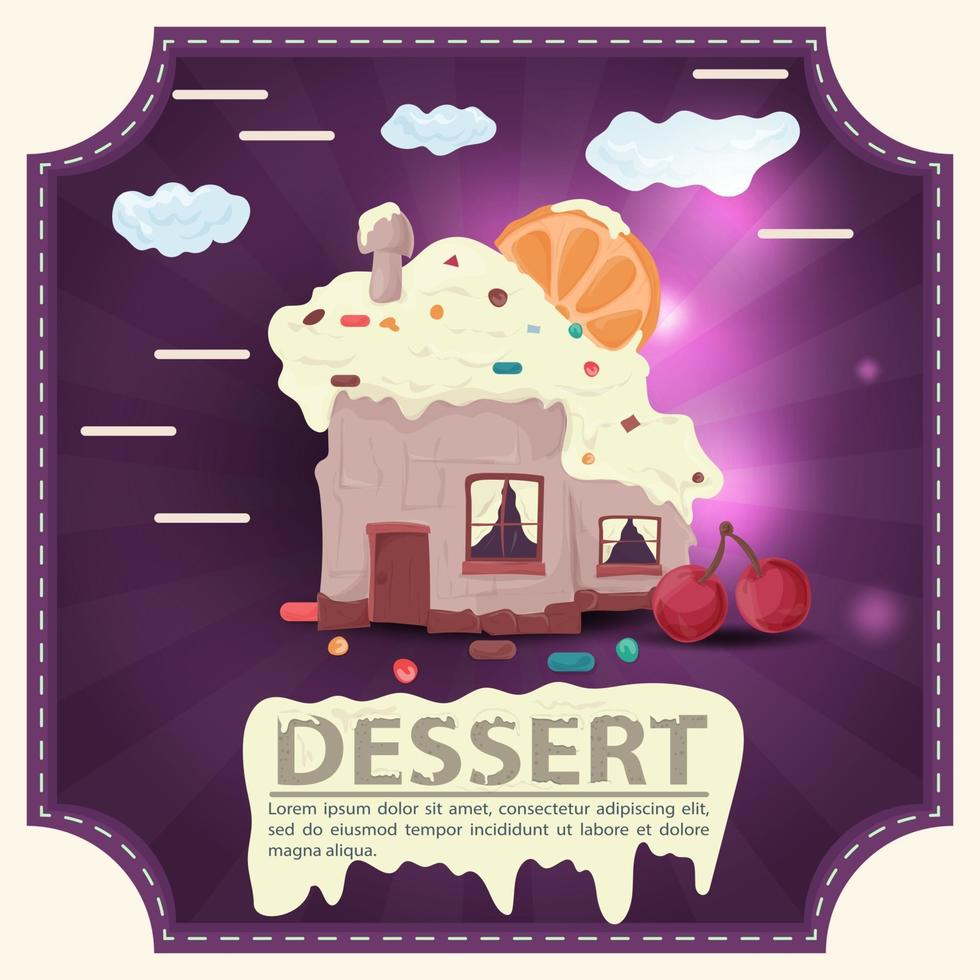 House baking cupcake with citrus on the roof and cherry with the inscription dessert square sticker flat design vector