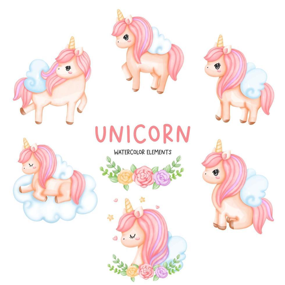 conjunto de elementos de acuarela de unicornio vector
