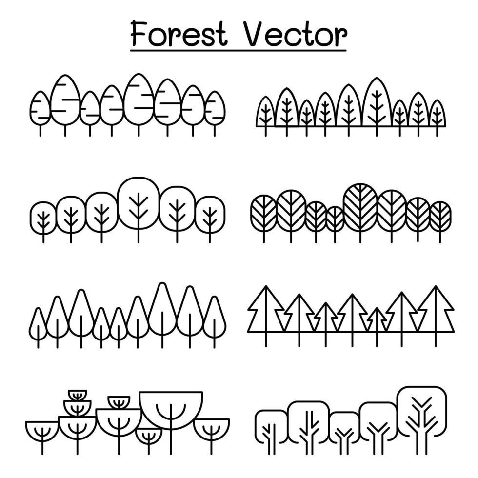 patrón de bosque, fondo de bosque, diseño gráfico de ilustración de vector de paisaje