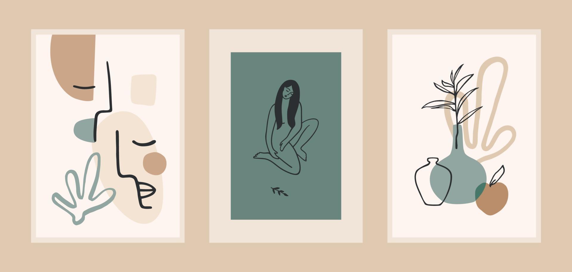 conjunto de grabados de arte contemporáneo. arte lineal. diseño vectorial moderno para carteles, tarjetas, envases y más vector