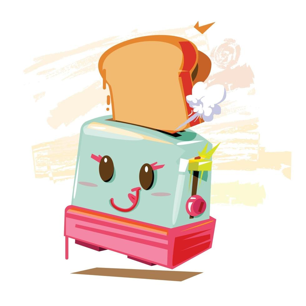 tostadora con pan - vector