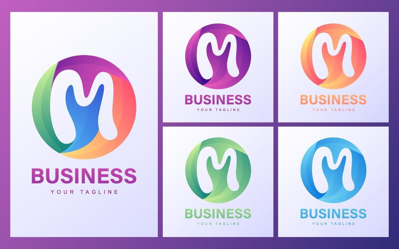 conjunto de logotipo letra m vector