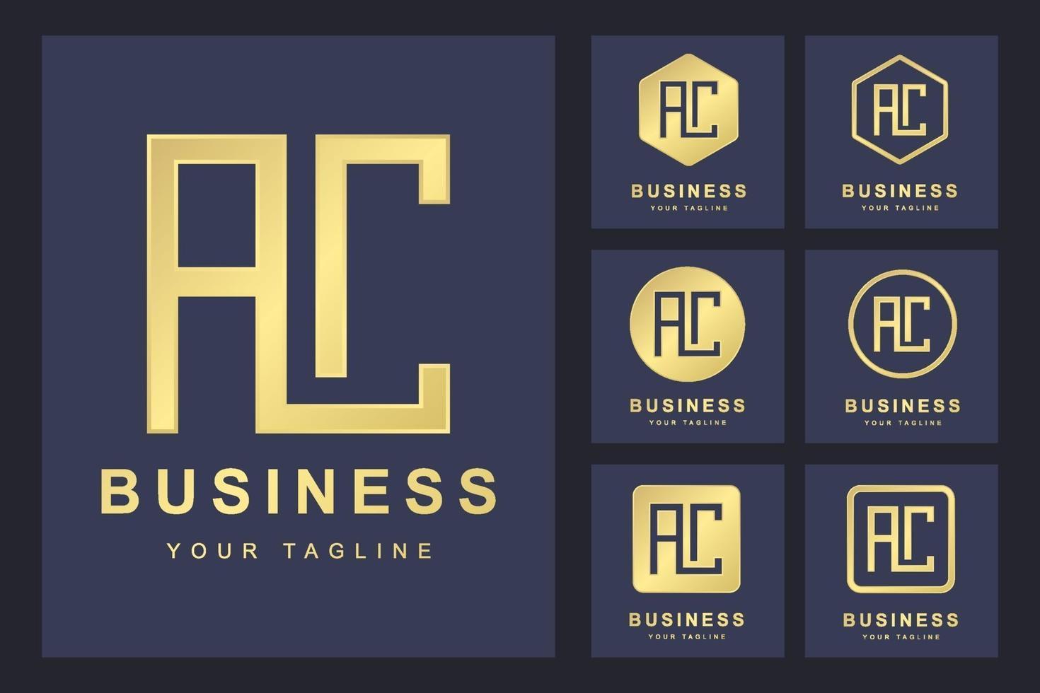 conjunto de plantillas de logotipo letra ac vector