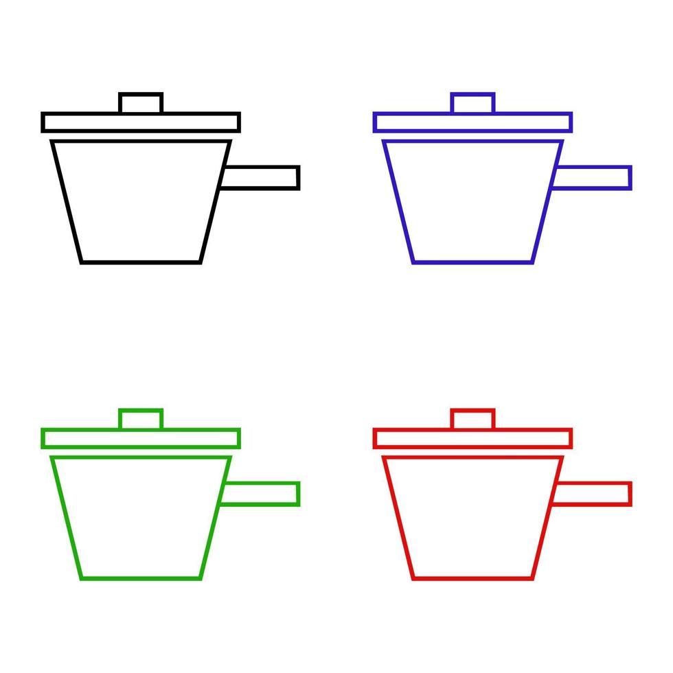 icono de olla isométrica en el fondo vector