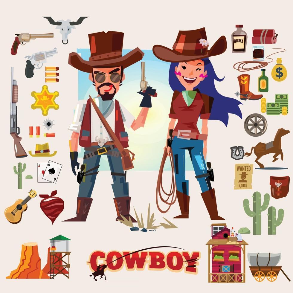 Carácter de vaquero y vaquera con conjunto de iconos de accesorios - vector