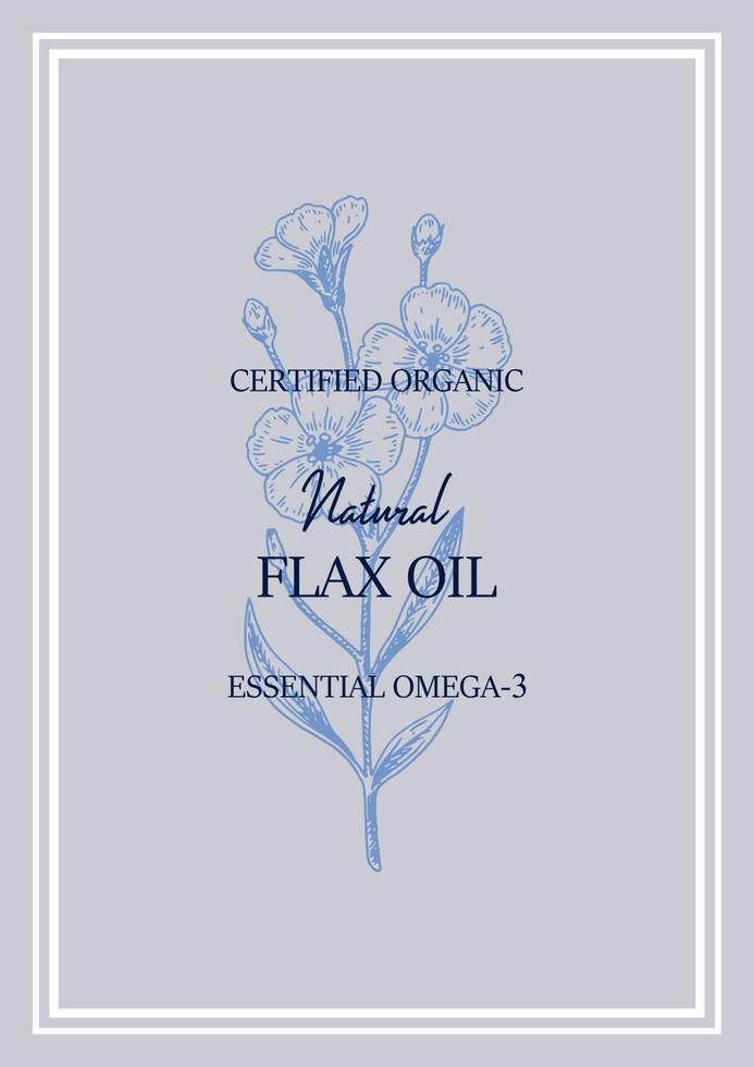 diseño vertical de lino dibujado a mano. ilustración vectorial en estilo boceto para semillas de lino y envases de aceite vector
