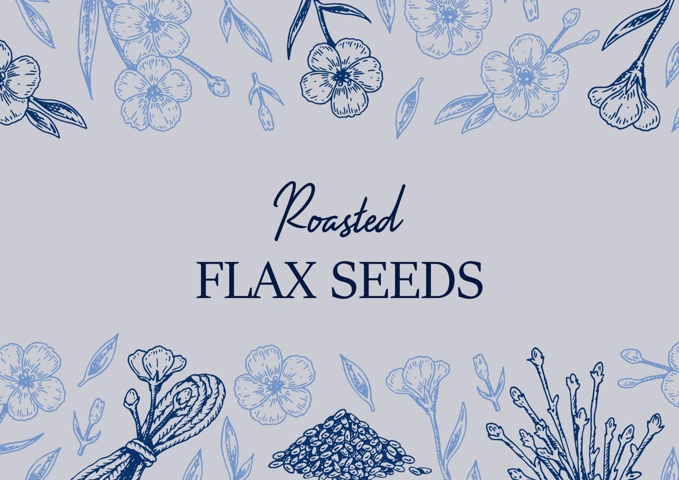diseño de lino dibujado a mano. ilustración vectorial en estilo boceto para semillas de lino y envases de aceite vector