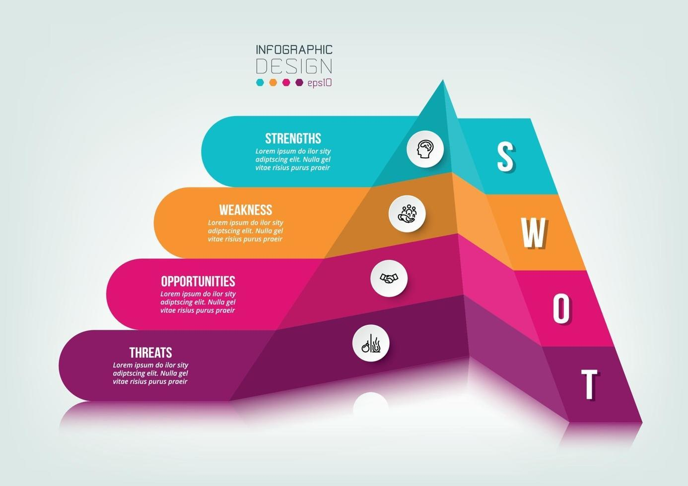swot analysis business or marketing  infographic template. vector