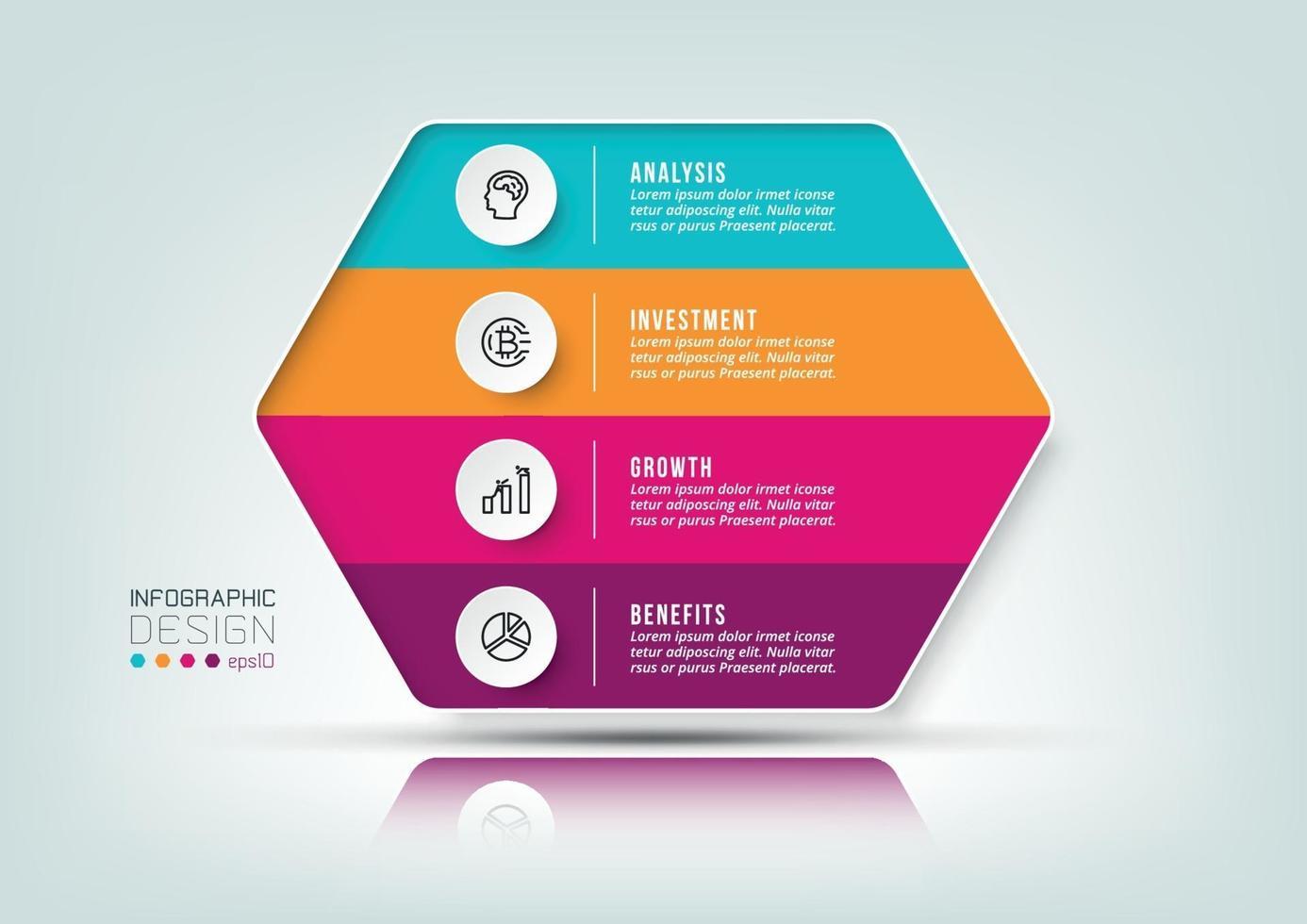 Plantilla de infografía de flujo de trabajo de proceso de 4 pasos. vector