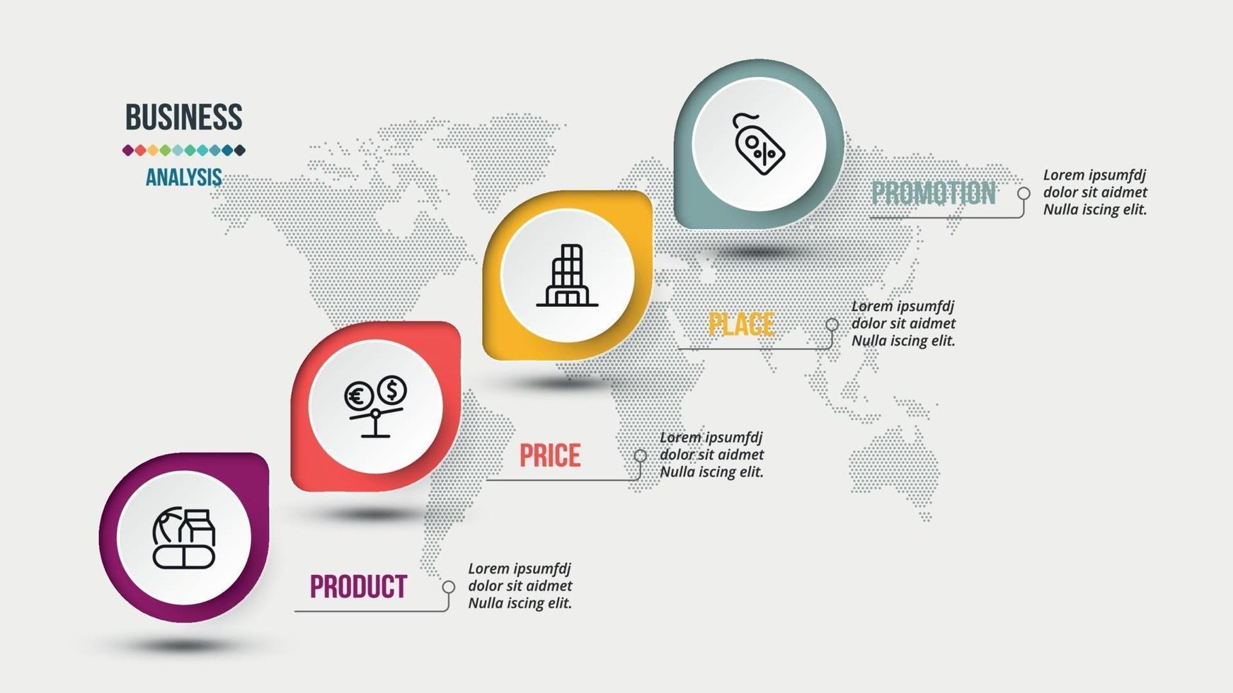 Plantilla de infografía de marketing o negocios de análisis 4p. vector