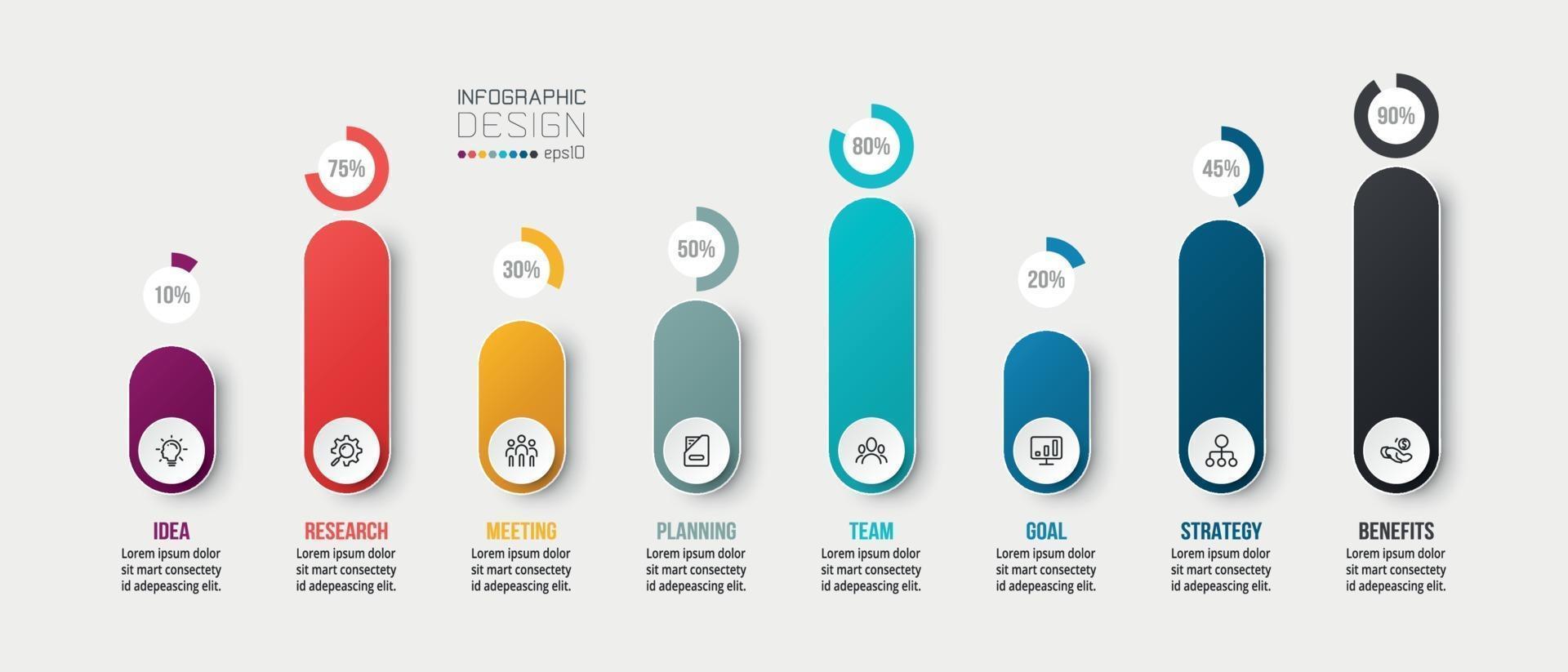 Plantilla de infografía de concepto de negocio con opción de porcentaje. vector