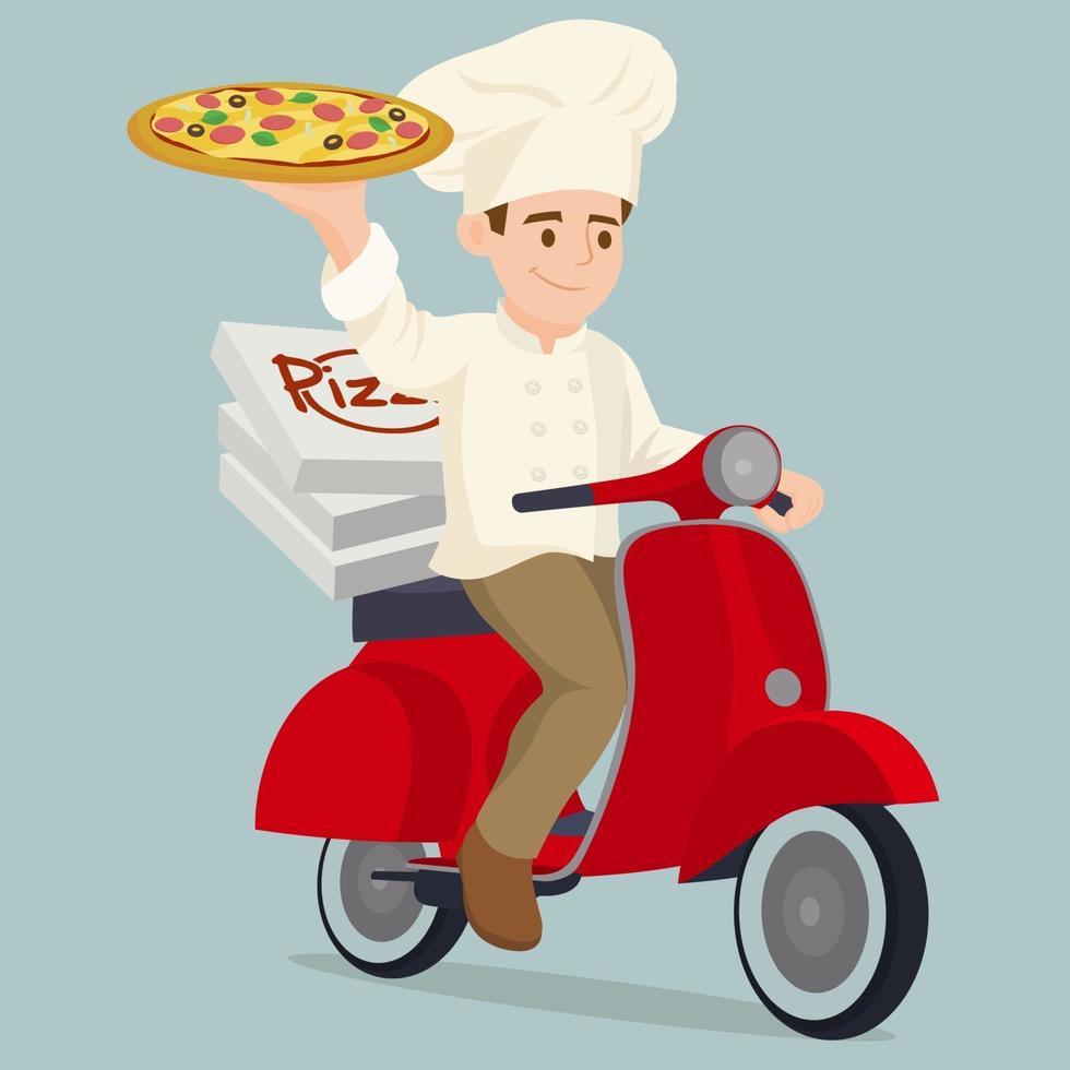 scooter de entrega de pizza y conductor de mensajería de pizza vector