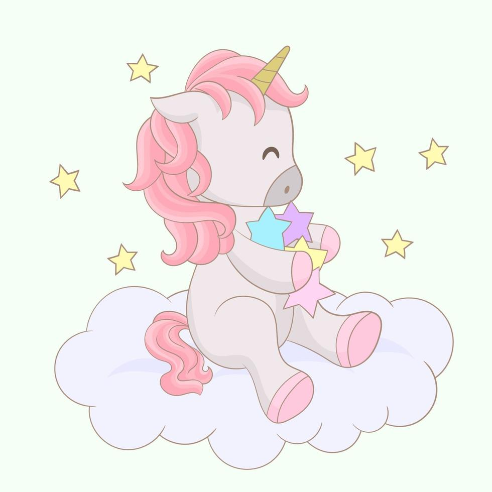 hermoso unicornio en las nubes con estrellas vector