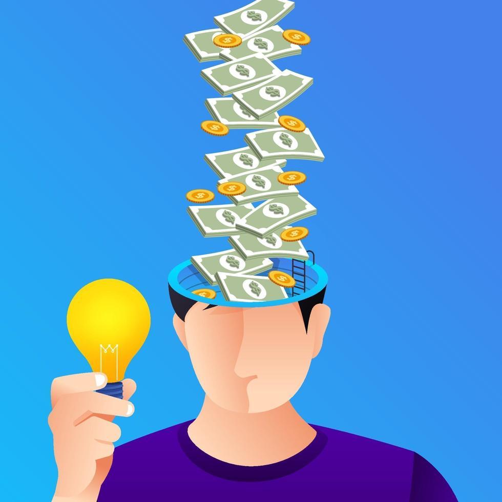concepto de ilustración idea creativa y dinero vector