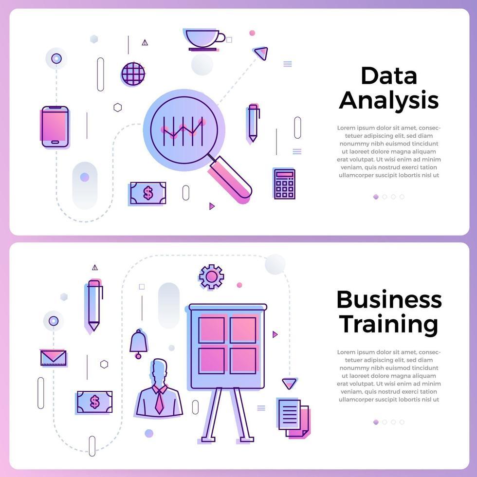 Ilustración de banner con iconos de contorno empresarial vector