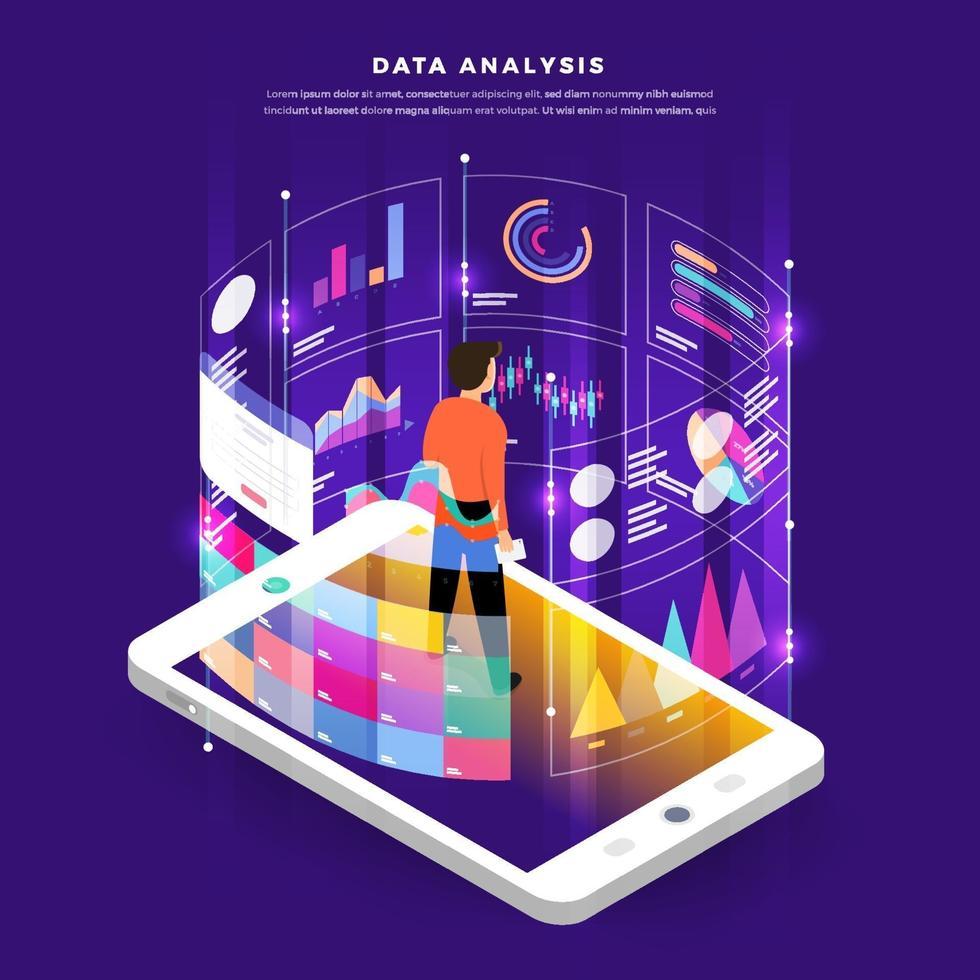 ilustración de análisis de datos vector