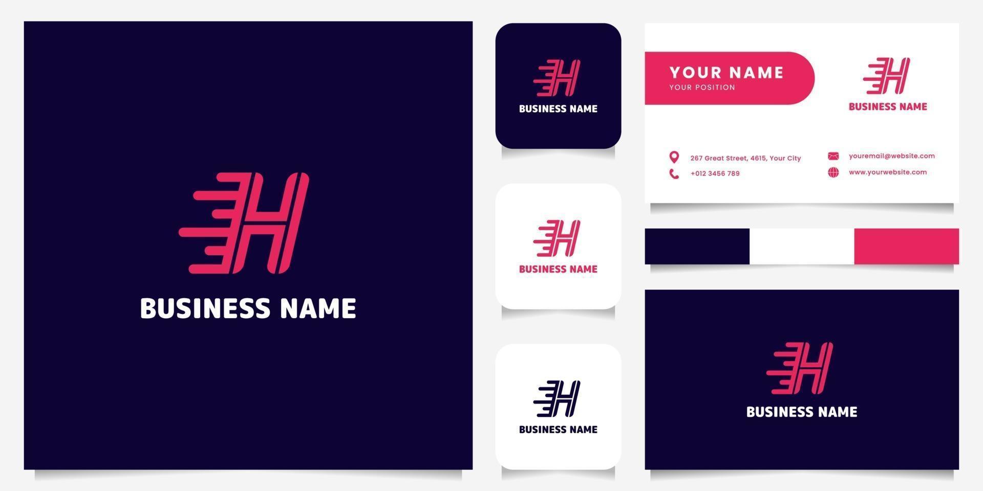 Logotipo de velocidad de letra h rosa brillante simple y minimalista en logotipo de fondo oscuro con plantilla de tarjeta de visita vector
