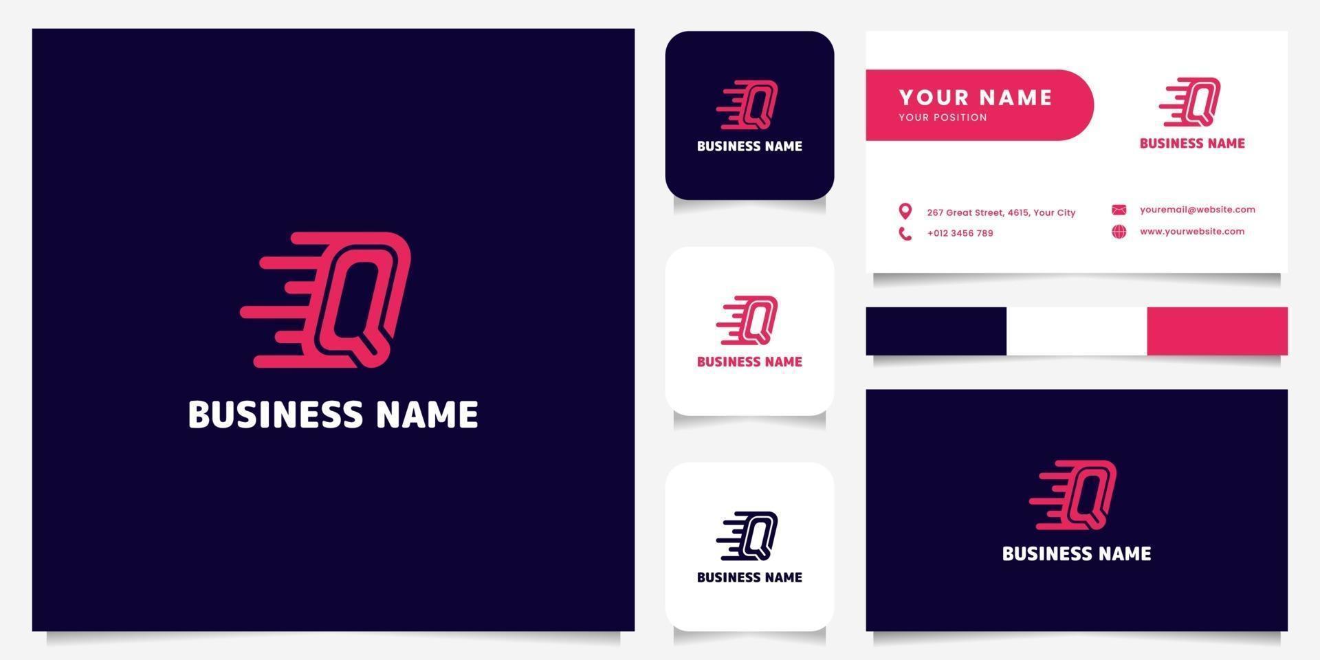 Logotipo de velocidad de letra q rosa brillante simple y minimalista en logotipo de fondo oscuro con plantilla de tarjeta de visita vector