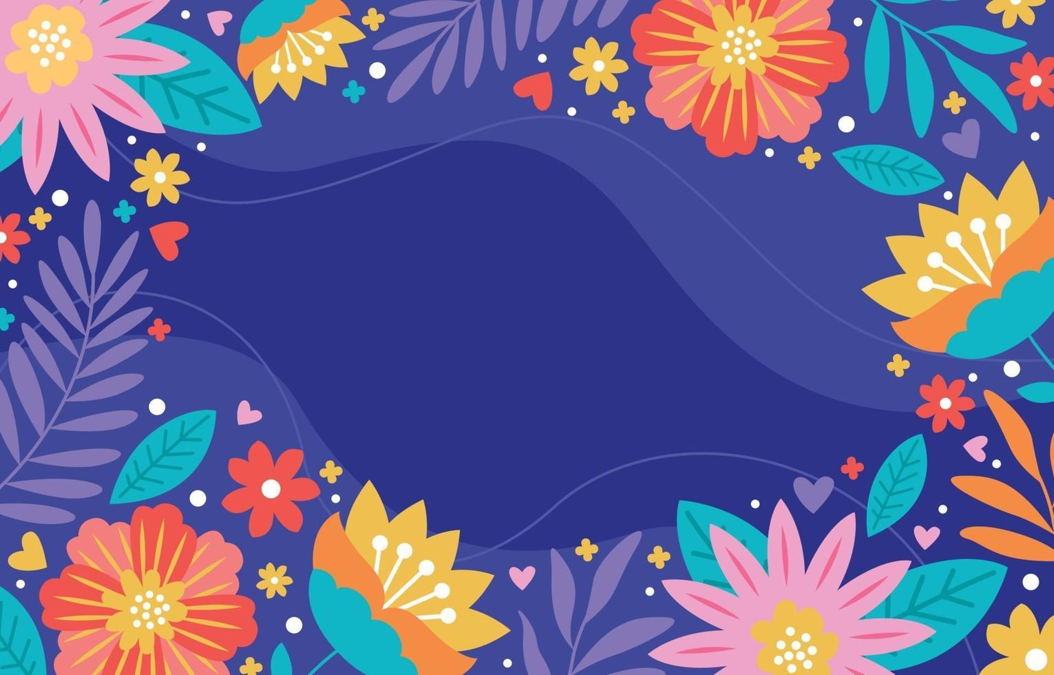Fondo de flores y follaje de colores vector