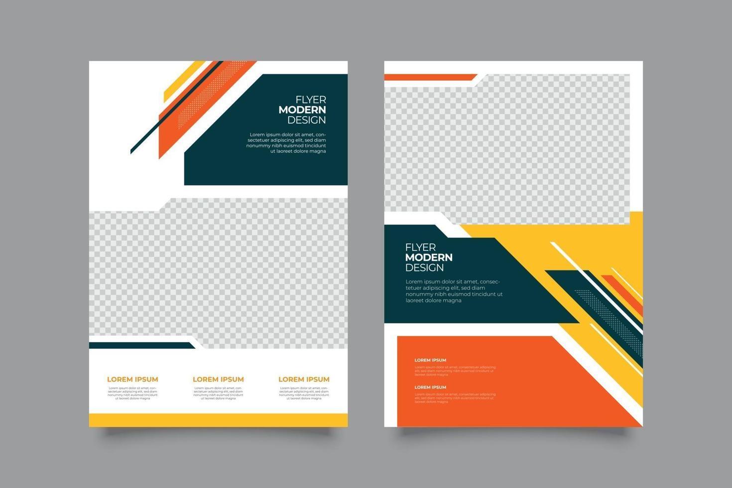 Plantilla de volante de promoción bancaria con formas geométricas. vector