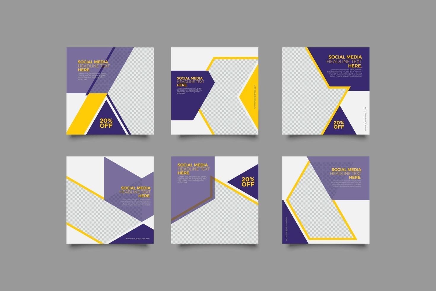 Conjunto de plantillas de publicaciones de instagram púrpura geométricas de negocios modernos vector