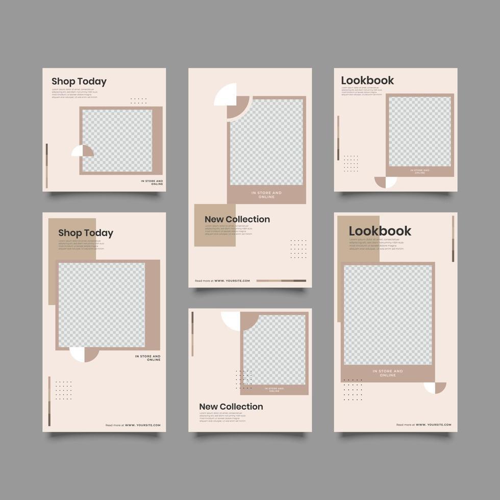 Plantilla de historias y publicaciones en redes sociales de marketing de negocios digitales vector