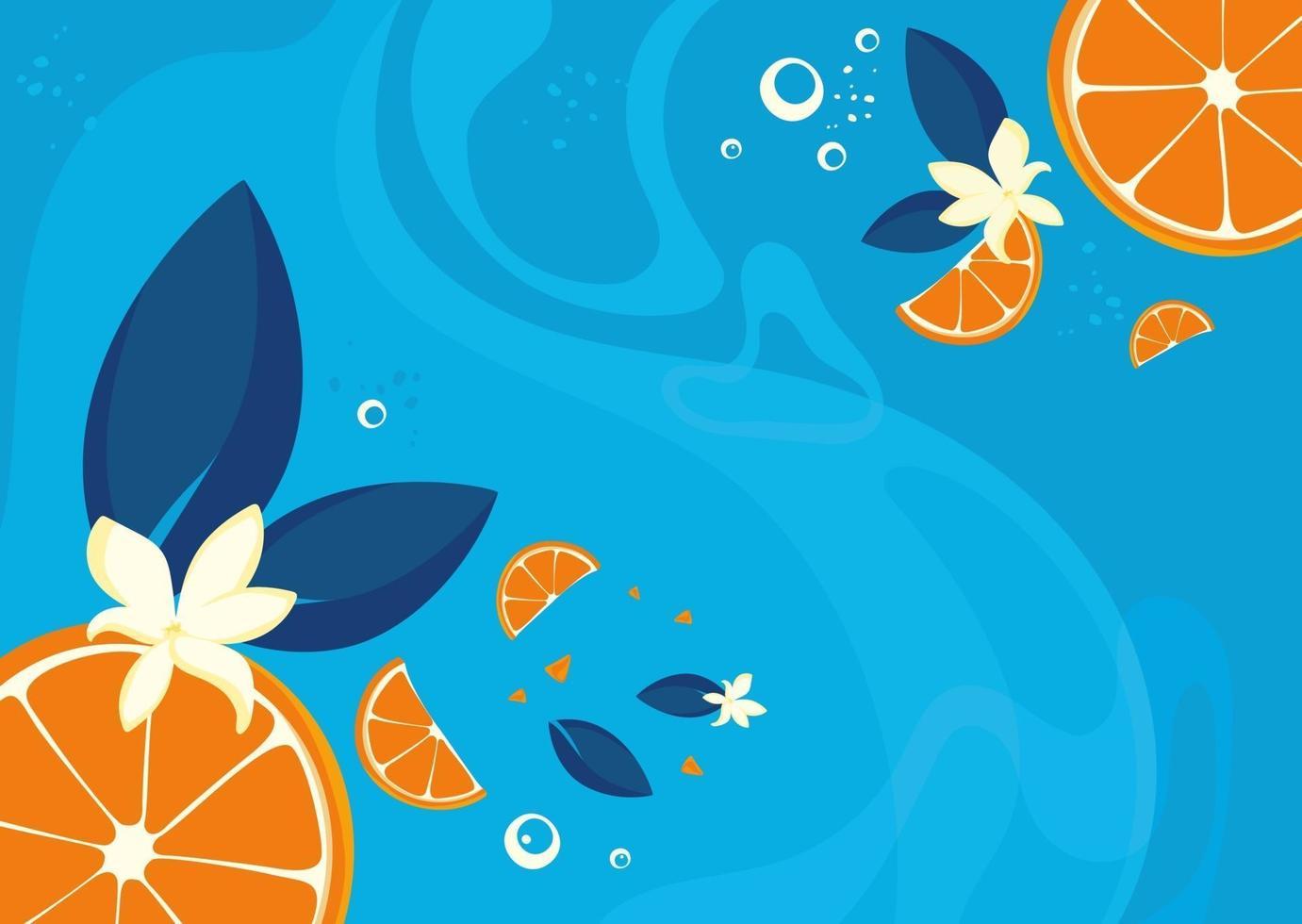 plantilla de banner con naranjas y vainilla. vector