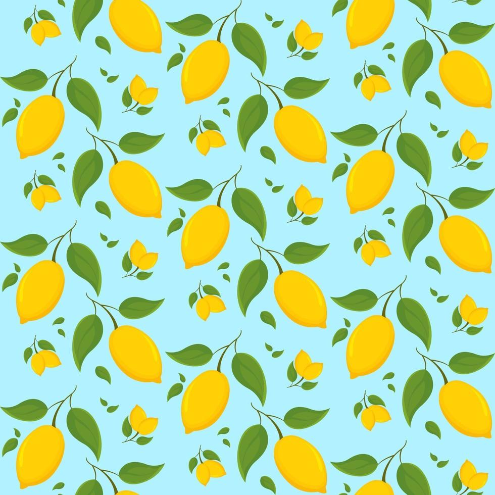 patrón transparente con limones en la rama. vector