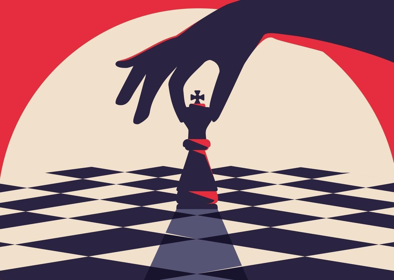 Plantilla de banner con mano sujetando pieza de ajedrez. vector