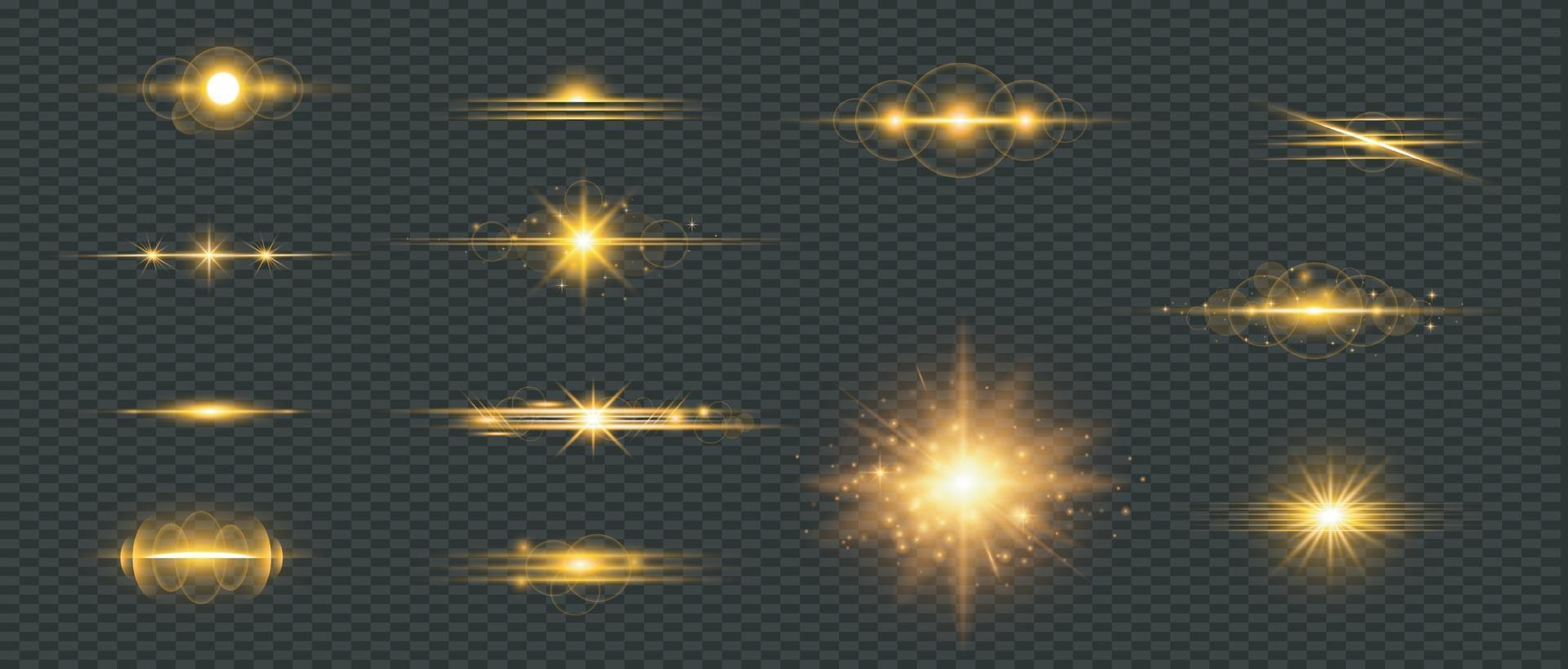 conjunto de destello de lente dorada vector