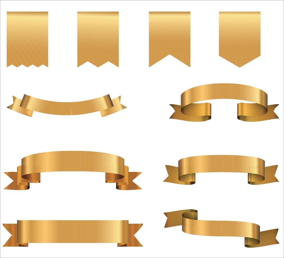 banderas de cinta dorada. colección retro de elementos de diseño aislado en vector de fondo blanco