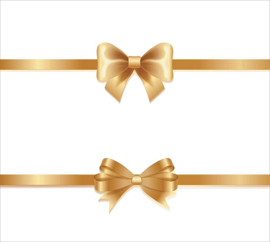 Colección de cintas doradas con cinta amarilla horizontal aislada sobre fondo blanco. decoración de regalo de vacaciones, colección de cintas de venta brillante. vector