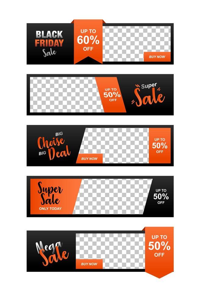 conjunto de plantilla de banner de venta, anuncios de banner para web vector