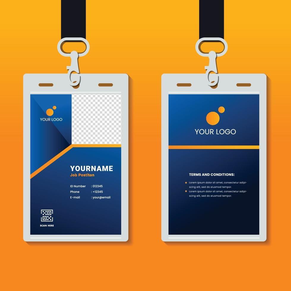 plantilla de tarjeta de identificación corporativa profesional, diseño de tarjeta de identificación limpia con maqueta realista vector