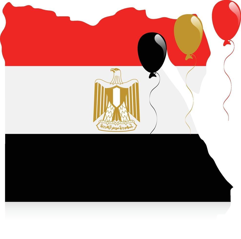 bandera del mapa de egipto vector