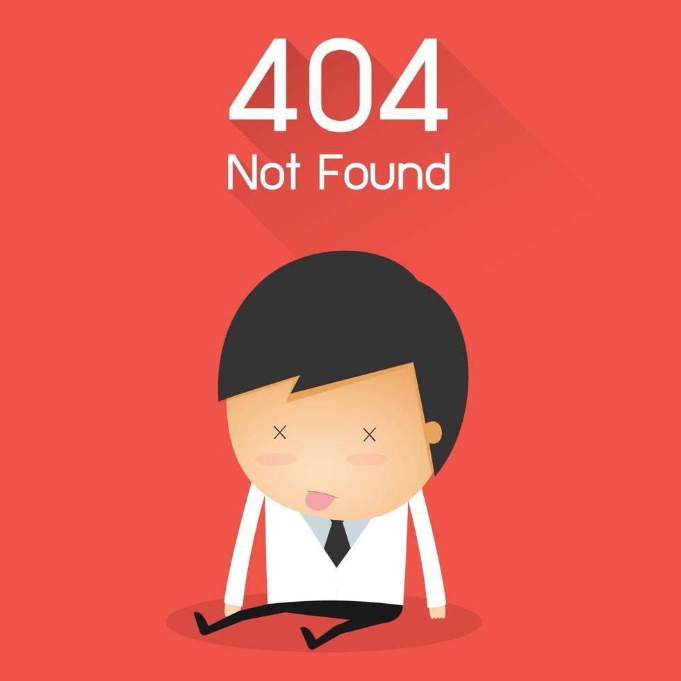 Página de error 404 no encontrada. concepto de falla de empresario. ilustración vectorial vector