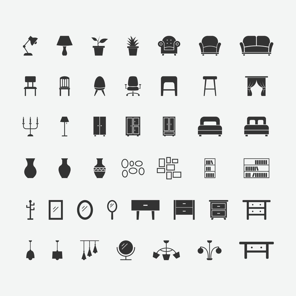 Ilustración vectorial de conjunto de iconos aislados de muebles para el hogar. vector
