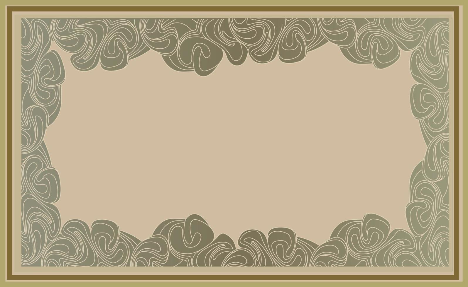 fondo retro con espacio de copia para el marco. decoración de líneas de remolino en estilo art deco. papel tapiz de elemento de decoración con motivos florales. vector