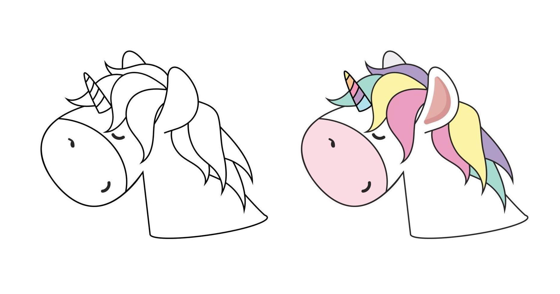vector de contorno de color de cabeza de unicornio