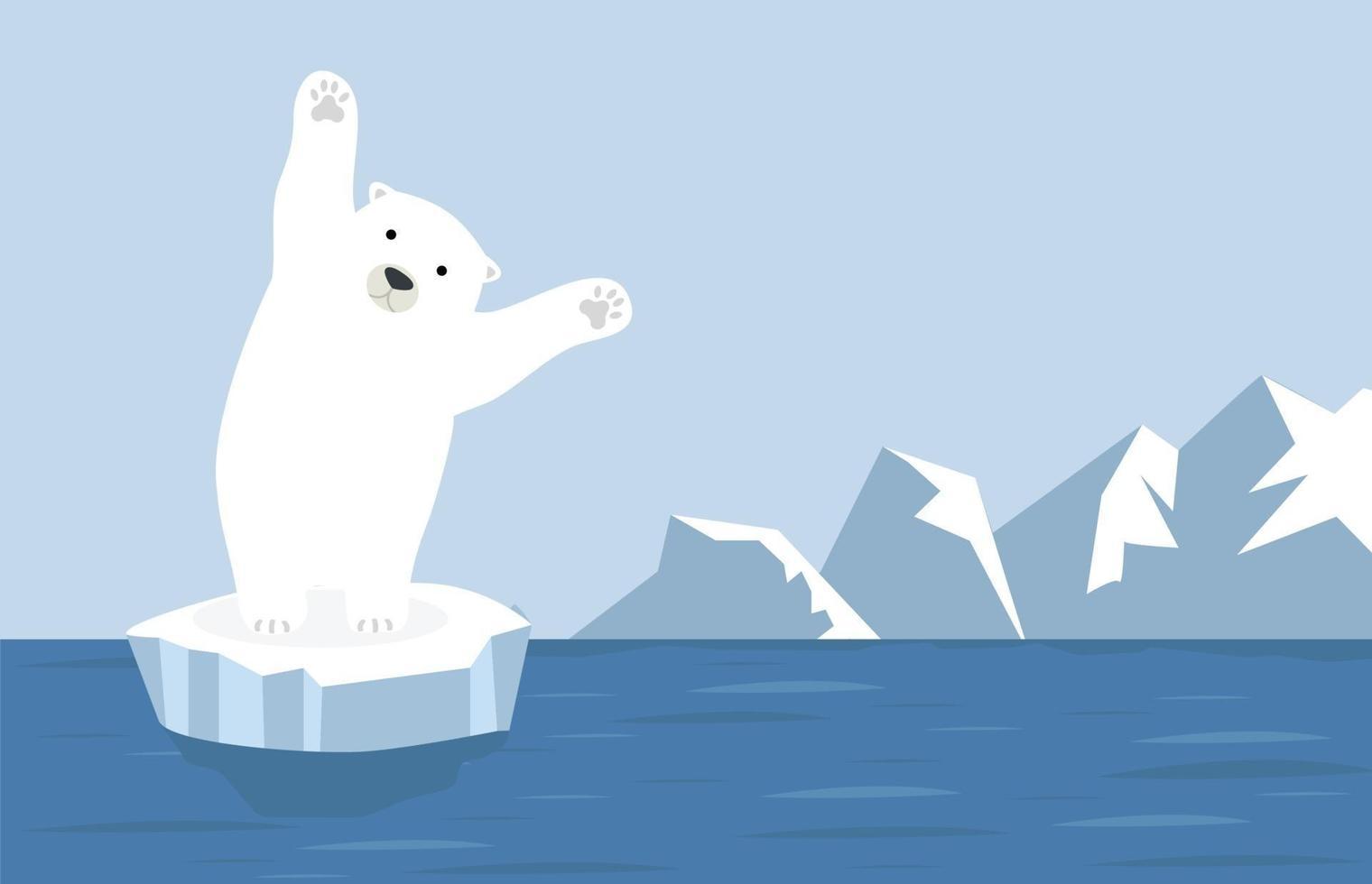 paisaje ártico del polo norte con oso polar vector