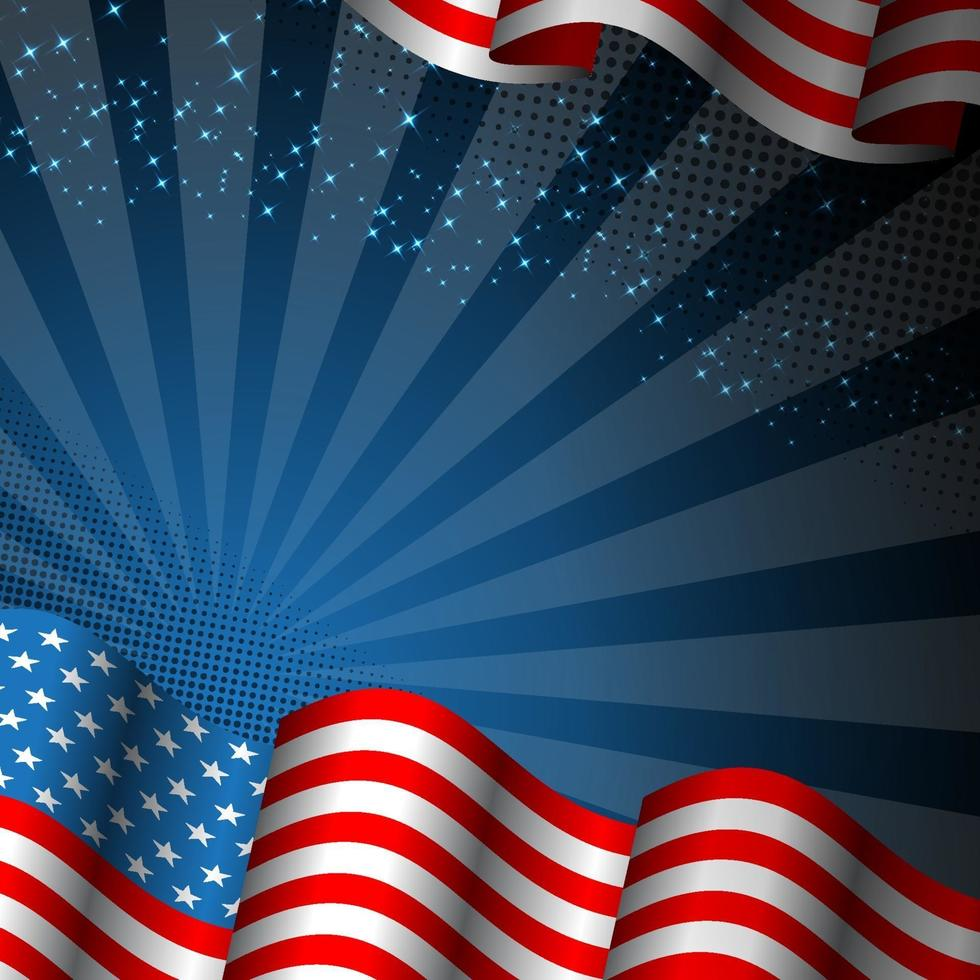 Realistic American Flag Background vector