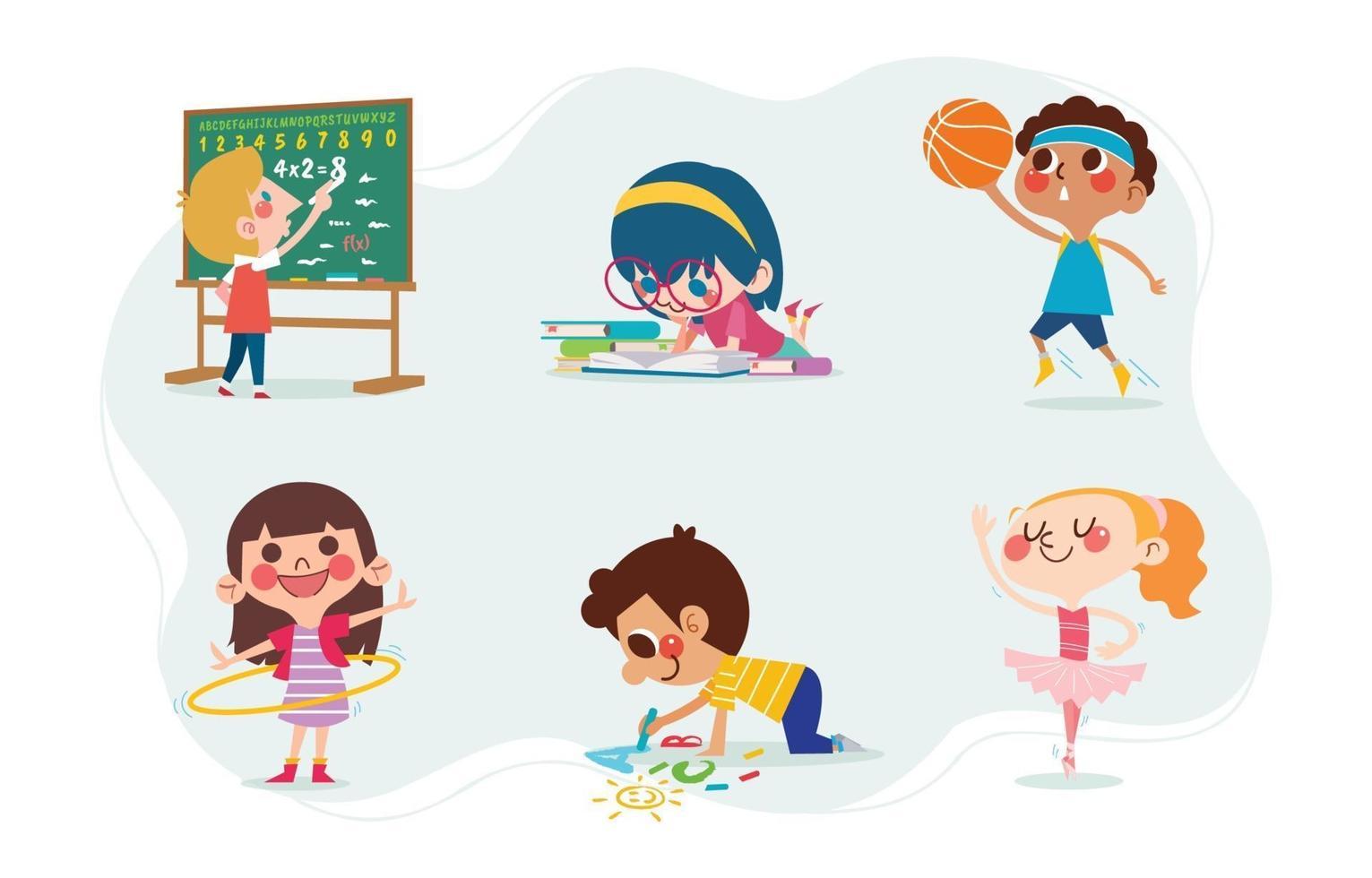 Cute Kids Character with School Activities vector