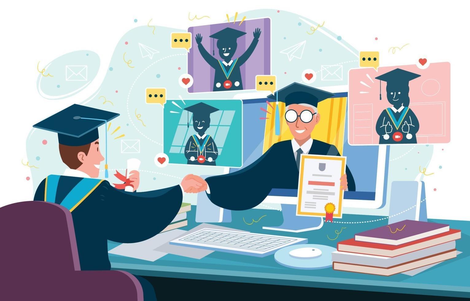 Online Graduation Ceremony Concept vector