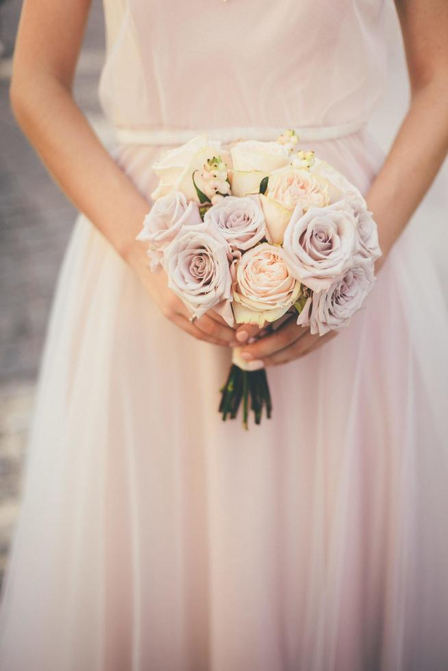 Bride in pink photo