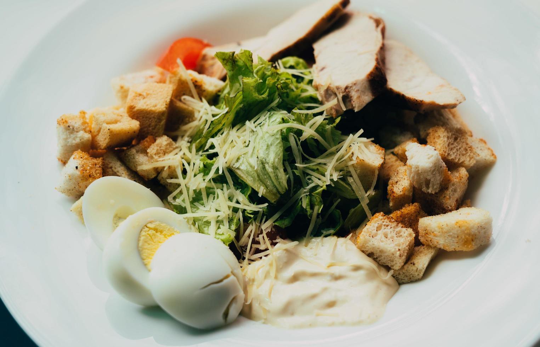 Caesar salad on a plate photo
