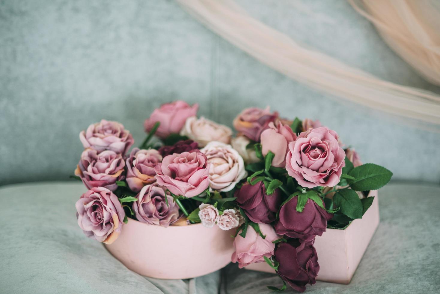 Pink and purple floral arrangement photo